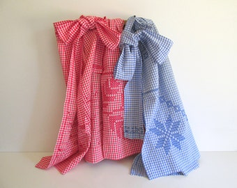 Vintage Handmade Aprons Red and Blue Gingham Checks Cross Stitched Half Apron Pocket