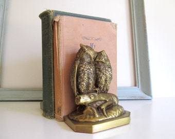 Vintage Pair Bronze Owl Bookends Gold Mid Century Metal Bookends
