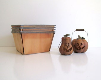 Vintage Berry Baskets Set of Five Large Berry Baskets Balsa Wood Fruit Baskets Harvest Fall Decor