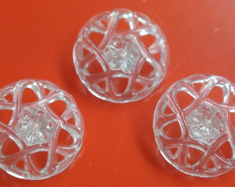 Lot of 3 vintage 1950s unused translucent plastic flower buttons for your sewing/decoration prodjects