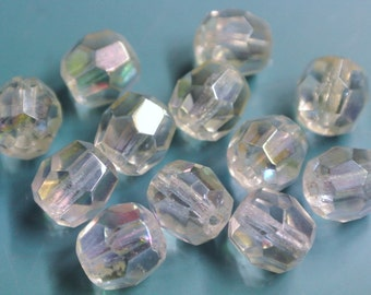 Lot of 12 vintage 1950s glowing faceted AB (aurore borealis) chrystal beads for your beading prodjects