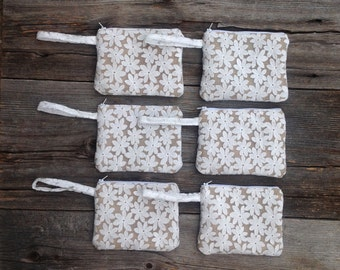 6 Bridesmaid Clutches, Wedding Party Gifts, Bridal Clutches, Spring Wedding, Rustic Bridesmaid Gifts, Burlap Lace Wristlets, READY TO SHIP