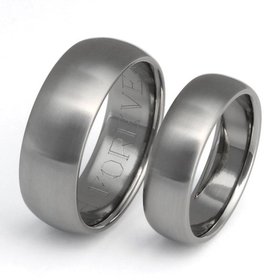 Titanium Wedding Band Set - Titanium Rings - His and Hers - stn11