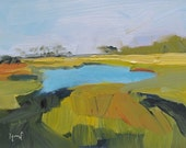 SC Salt March....graphic, landscape, salt marsh, small painting, stylized....Reserved for Catherine......until November 1st....