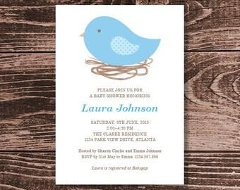 Bird Nest Baby Shower Invitation  – DIY Printable Personalised – Baby Boy (Digital File)