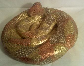 FREE SHIPPING vintage chalkware rattlesnake (Vault 26)