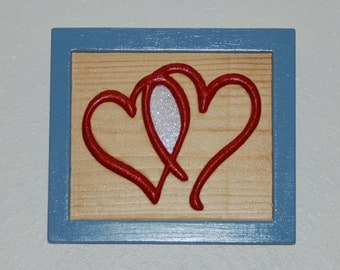 Carved Hearts - Love - Valentine - hand painted wood carved hearts - 16012