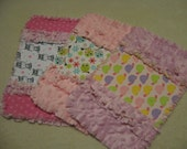 3 New  Baby Girl Burp Cloths with minky backing Zebra Turtles Owls