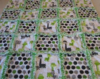 Gray and  Lime Green Giraffes and Dots Baby Boy or Girl Rag Quilt Blanket 35x35