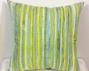 Decorative Pillow, Couch Pillow, Sofa Pillow, Bed Pillow, Throw Pillow, Decorative Sofa Pillow, Blue Yellow Striped Pillow, Accent Pillow