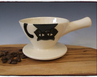 Second Sale-Beautiful White Coffee Dripper/Single Coffee Maker/Single Coffee Brewer with Black Cat by misunrie