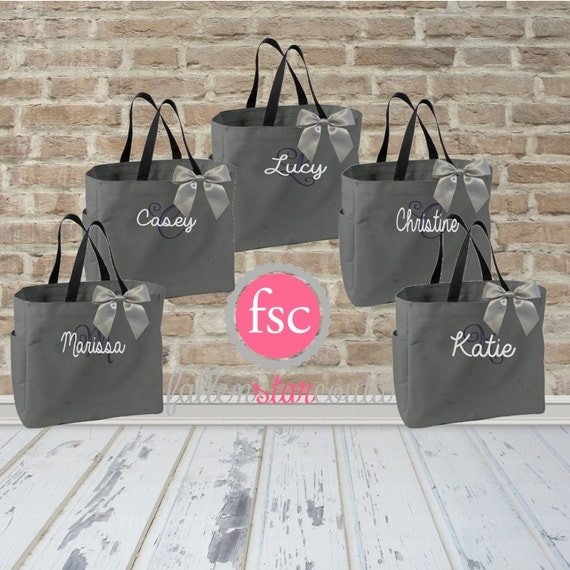 5 Bridal Party Tote Bags Bridesmaid Gifts By FallenStarCoutureInc