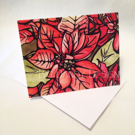Poinsettia Holiday Greeting Cards Set of 6, 12, 20