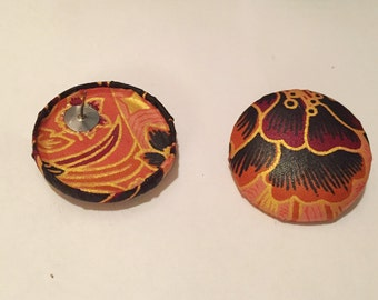Afrocentric Large Button Earrings