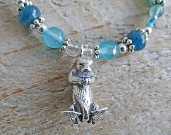 Silver Otter Spirit Animal Totem Blue Opal Apatite Citrine Gemstone Necklace