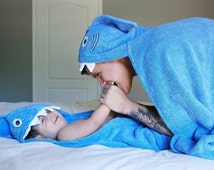 ADULT BLUE Shark hooded towel Personalized