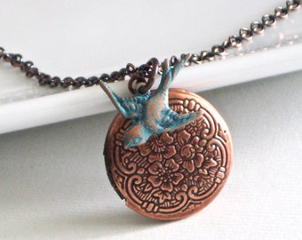 Small Bird Locket Necklace - Copper Locket, Teal, Bird Jewelry, Bird Necklace