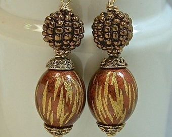 Vintage Japanese Tensha Bead Copper Gold Dangle Drop Earrings, Vintage Japanese Copper Berry Bead, Copper French Ear Wires - GIFT WRAPPED