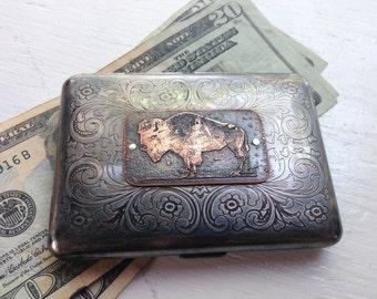 American Bison Etched  Wallet / Cigarette Case in Victorian  -- Acid Bath Series