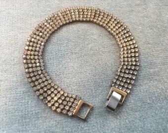 Rhinestone Bracelet / Tiny Prong Set Stones / 1950s / 1940s / Wedding Jewelry
