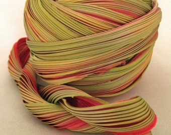1 yd Shibori Ribbon Golden Red Hand Dyed Silk Ribbon Shibori Girl