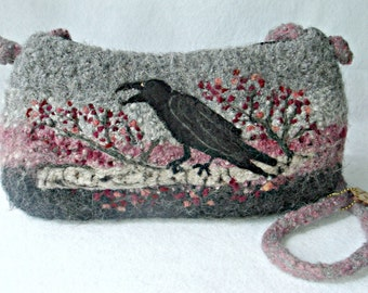 Felted Alpaca Purse, Felted Alpaca Handbag, crow art, raven art, needle felt crow, hypo allergenic purse