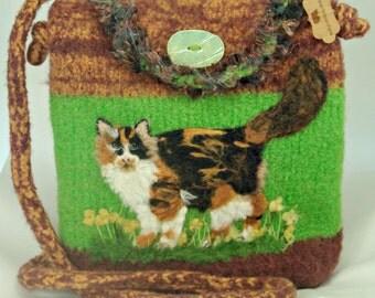 Calico Cat,Felted Purse, Felted Handbag, Calico Cat, Cat Art, Needle Felt Cat
