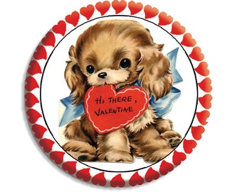 "Valentine Puppy Love Pocket Mirror, Magnet or Pinback Button - Favors - 2.25""-  MR489"