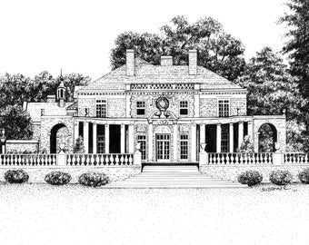 CUSTOM HOUSE PORTRAIT, Pen & Ink Sketch of a Home, Building or Church by Suzanne Churchill from Your Reference Photos, Realtor Closing Gift