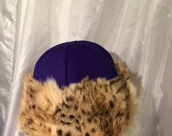 Amazing and Beautiful Mongol, Mongolian, Russian, Viking fur hat with blue/purple wool