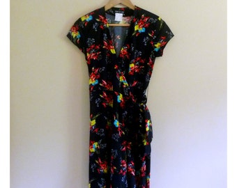 PREVIOUSLY 35.00 - Vintage 80s Wrap Mini Dress with Rainbow Floral Print - Size M