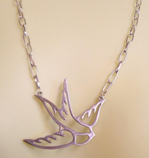 silver bird necklace chain bird pendant bird jewelry animal handmade jewelry #jewls5004
