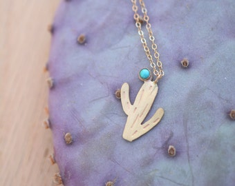 Turquoise cactus necklace, 14k gold, sterling silver, dainty