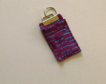 Pink and Blue Chapstick Key Chain, Fabric Key Fob, Chap Stick Cozy