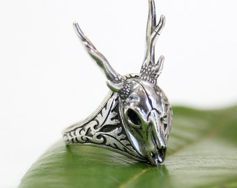 Silver Stag Deer Skull Ring Antler Animal 509