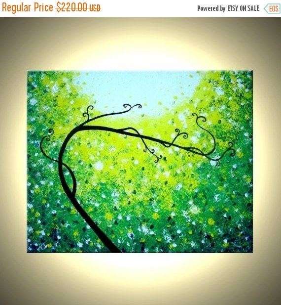 Original Abstract Tree Painting, Palette Knife Art, ORIGINAL Green Tree, Textured Landscape, Abstract PAINTING by Lafferty - 30X24