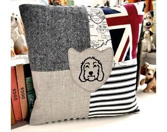 Cockapoo Labradoodle Patchwork Print Cushion - Union Jack
