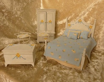 dollhouse miniature bedroom set  - handpainted  cottage-chic style