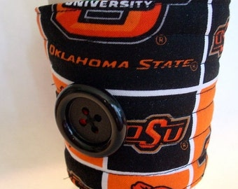 Winter Clearance Oklahoma State University, OSU, Oklahoma State Cowboys, team coffee cozy, coffee cup sleeve, coffee cup cozy reuseable eco