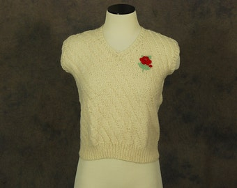 CLEARANCE SALE vintage 70s Sweater Vest - Rose Applique Sweater - 1970s Hand Knit Ivory Sweater Sz XS S