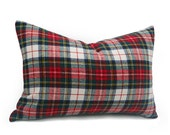 Wool Plaid Pillows, White Red Plaid Pillow Cover, Stewart Plaid, Stuart Tartan Pillow, Christmas Pillow Cover, Seasonal Home Decor, 12x20