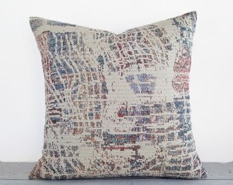 Lodge Pillows, Rustic Throw Pillow Covers, Abstract Pillow, Cream Rust Blue, Industrial Pillow, Cabin Pillow, Textured Pillow, 12x18, 18, 20