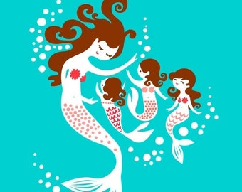 "SHOPWIDE SALE 8X10"" Mermaid Mother and Triplet Daughters giclee print on fine art paper. Teal, pink, dark brunette"
