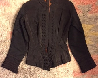 Silk Victorian Jacket with Pleated Cuffs