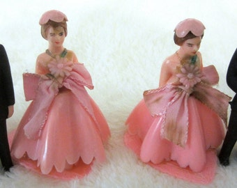 Bride Groom Bridesmaid 1950s-60s Collectible Vintage Figurine Wedding Cake Topper Celluloid Hong Kong Heart Base Pink Dress Flower Ribbon