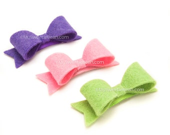 Mini Felt Bow Baby Barrettes, Felt Barrettes for Babies, Small Felt Bows for Toddlers, No Slip Clips, Baby Girl Bow Set, Purple, Pink, Green