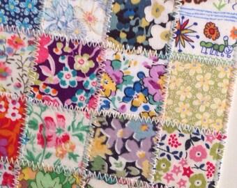 Patchwork postcard - Vintage Liberty of London tana lawn patchwork postcard, correspondence card