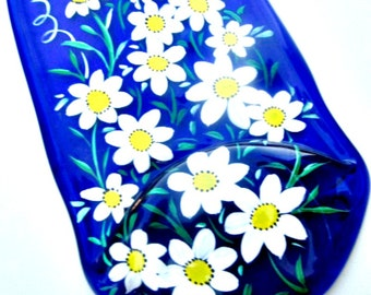 Melted Wine Bottle Serving Tray, Cheese Tray,  Spoon Rest, Kitchen Trivet,  Hand Painted Blue Wine Bottle Painted with White Daisies