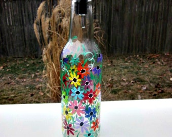 Dish Soap Dispenser,  Recycled Clear Beer Bottle, Painted Glass, Oil and Vinegar Bottle, Colorful Flowers