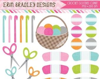 50% OFF SALE Crochet Digital Clipart Graphics Crochet Hooks Yarn Scissors Basket Clip Art Set INSTANT Download